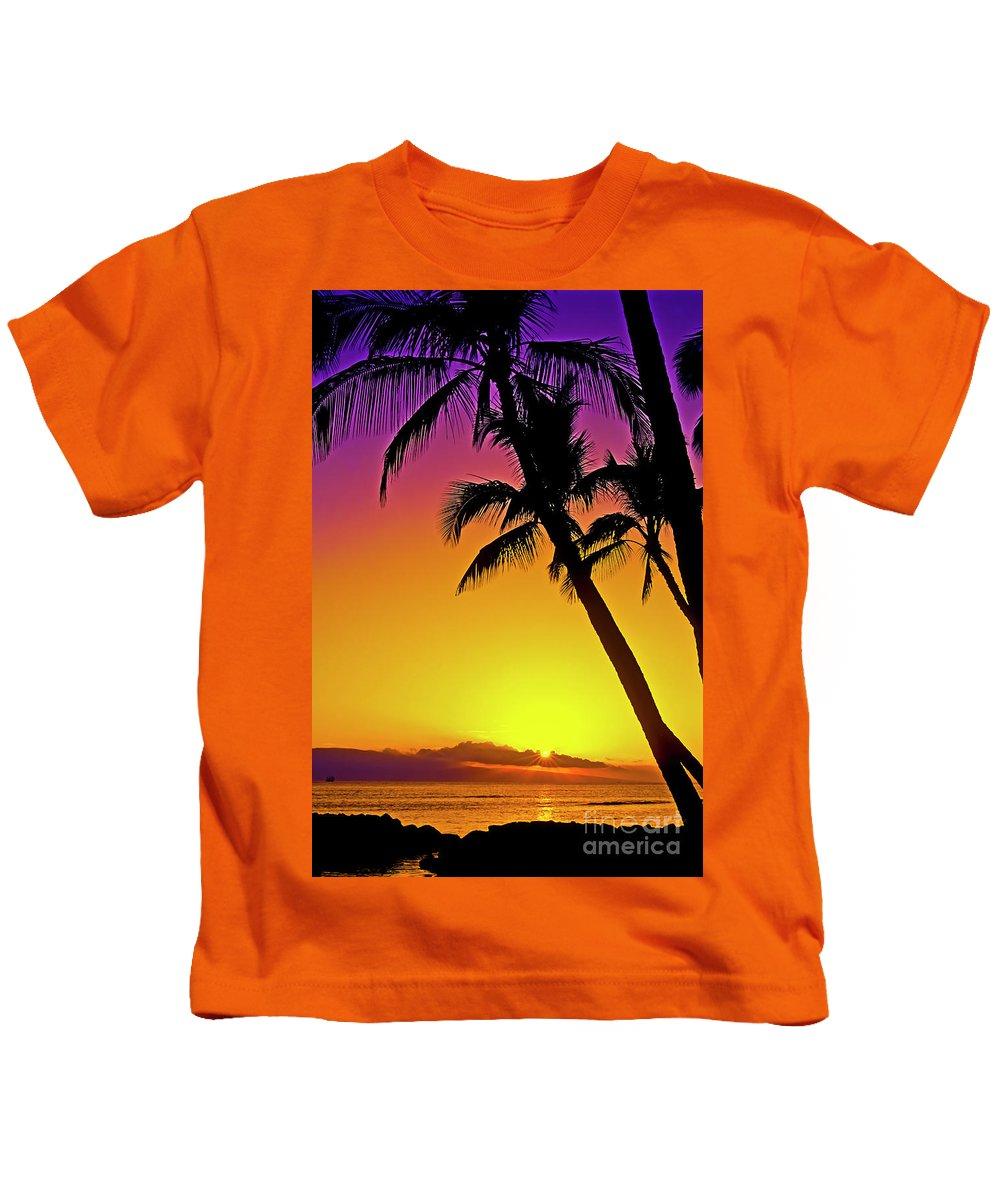 Sunset Kids T-Shirt featuring the photograph Lanai Sunset II Maui Hawaii by Jim Cazel