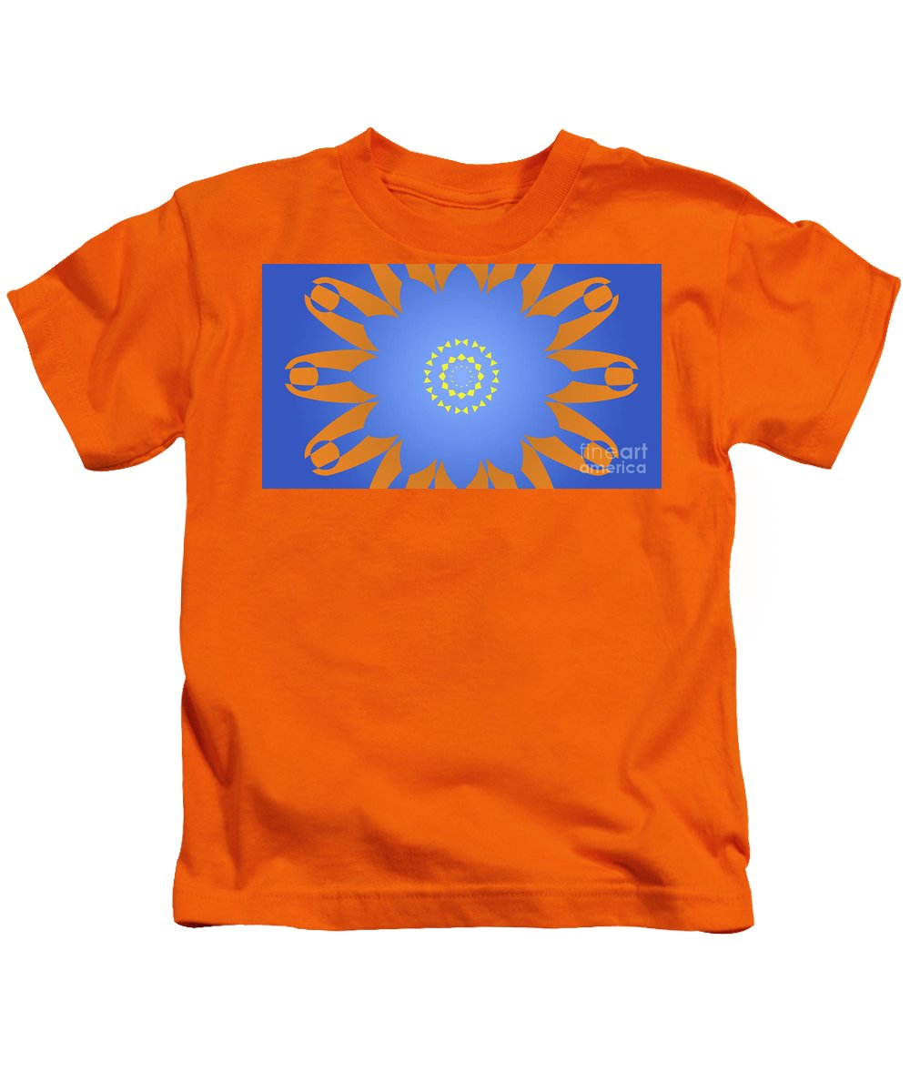 Landscape Purple Back And Abstract Orange And Blue Star Kids T-Shirt featuring the digital art Landscape Abstract Blue, Orange And Yellow Star by Drawspots Illustrations