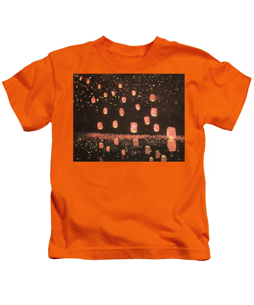 Lanterns Kids T-Shirt featuring the painting Lanterns by Vale Anoa'i