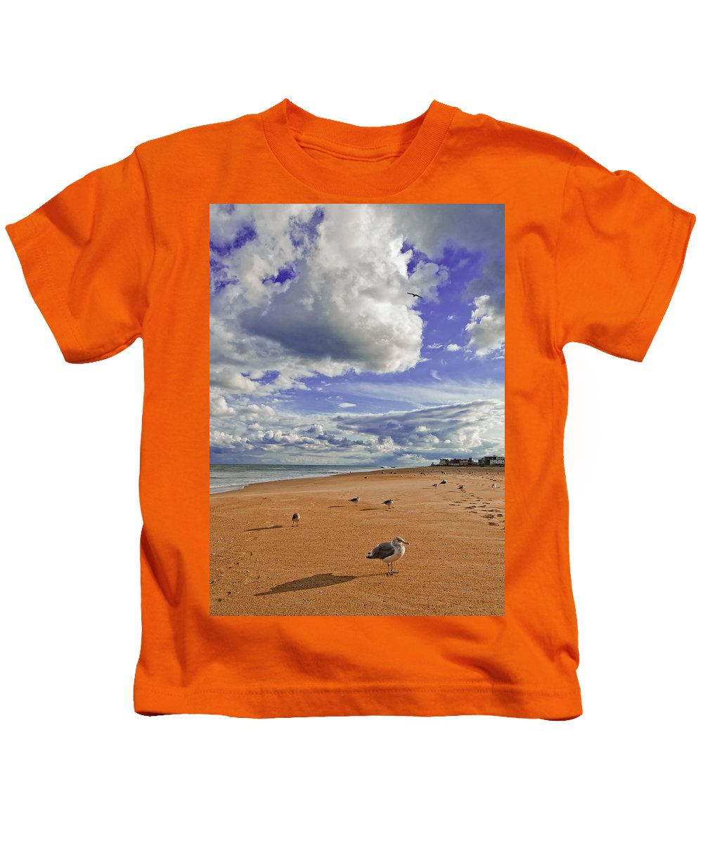 Gulls Kids T-Shirt featuring the photograph Last Day At The Beach by Jim Moore