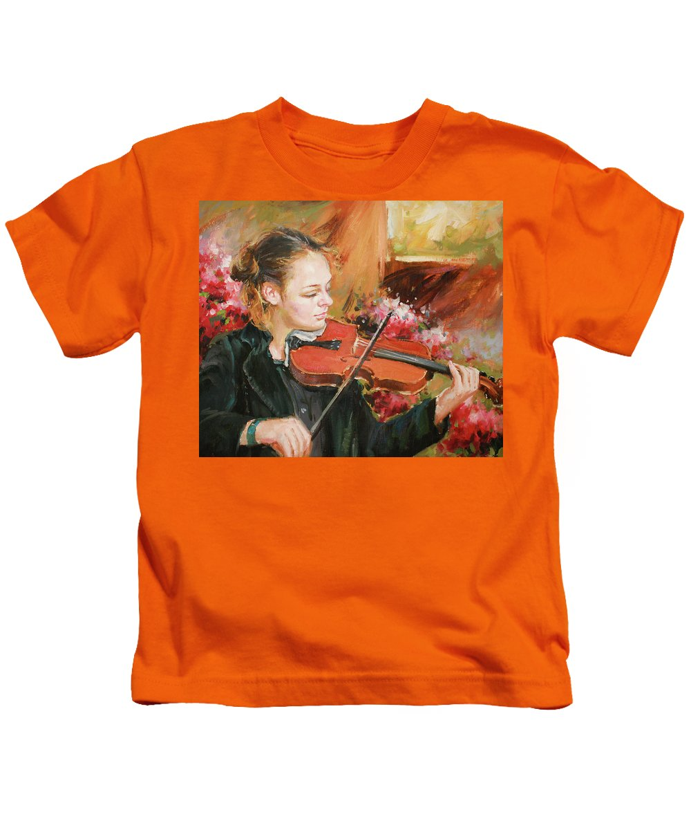 Violin Kids T-Shirt featuring the painting Learning The Violin by Conor McGuire