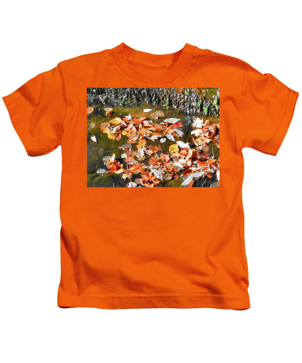 Leaves Are Falling Kids T-Shirt featuring the painting Leaves Are Falling by Jeelan Clark