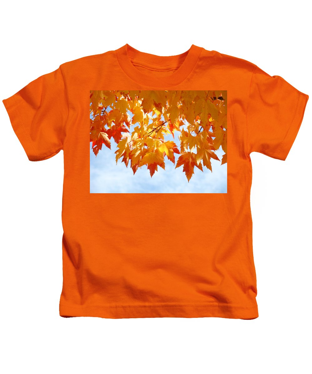 Autumn Kids T-Shirt featuring the photograph Leaves Nature Art Orange Autumn Tree Leaves by Baslee Troutman