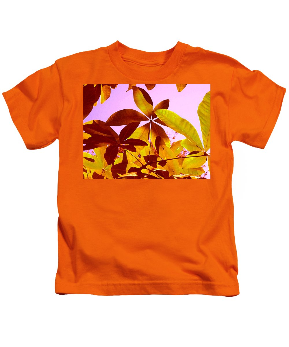 Garden Kids T-Shirt featuring the painting Light Coming Through Tree Leaves 1 by Amy Vangsgard