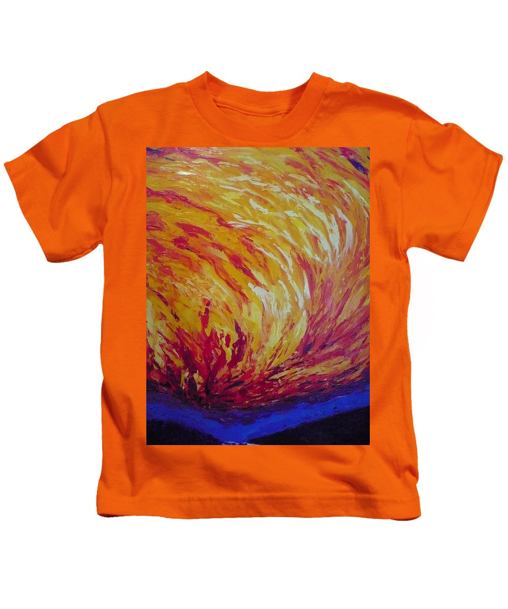 Fire Kids T-Shirt featuring the painting Lighting A Match by Ericka Herazo