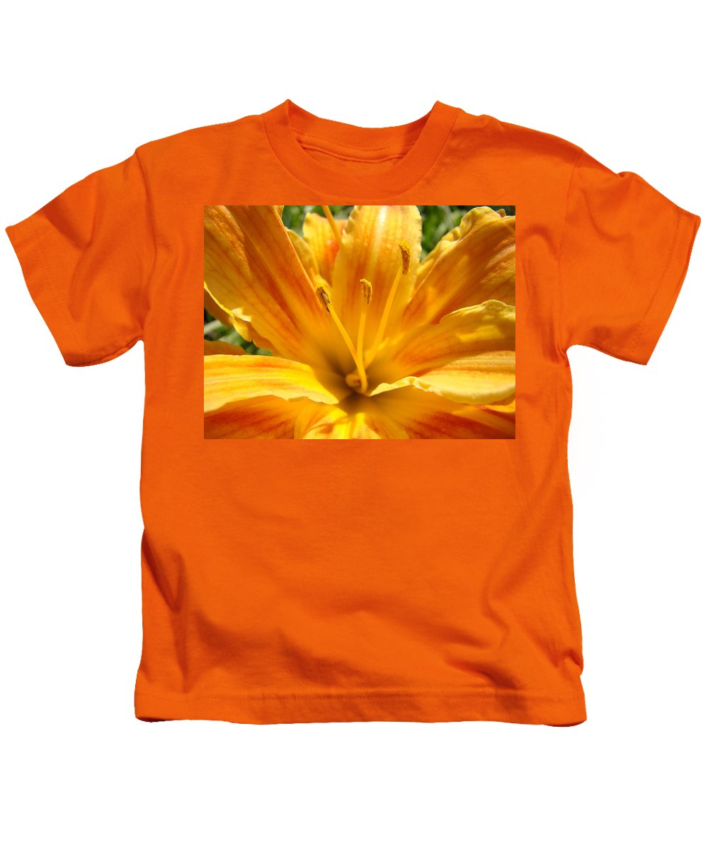 Lilies Kids T-Shirt featuring the photograph Lilies Orange Yellow Lily Flower 1 Giclee Art Prints Baslee Troutman by Baslee Troutman
