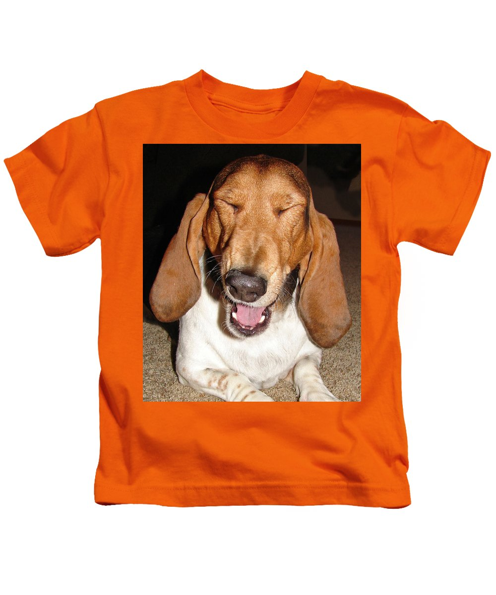 Basset Hound Kids T-Shirt featuring the photograph Lillard by Heather Coen