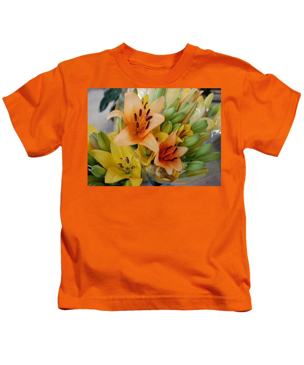 Kids T-Shirt featuring the painting Lillies - Peach And Yellow Colors by Michael Thomas