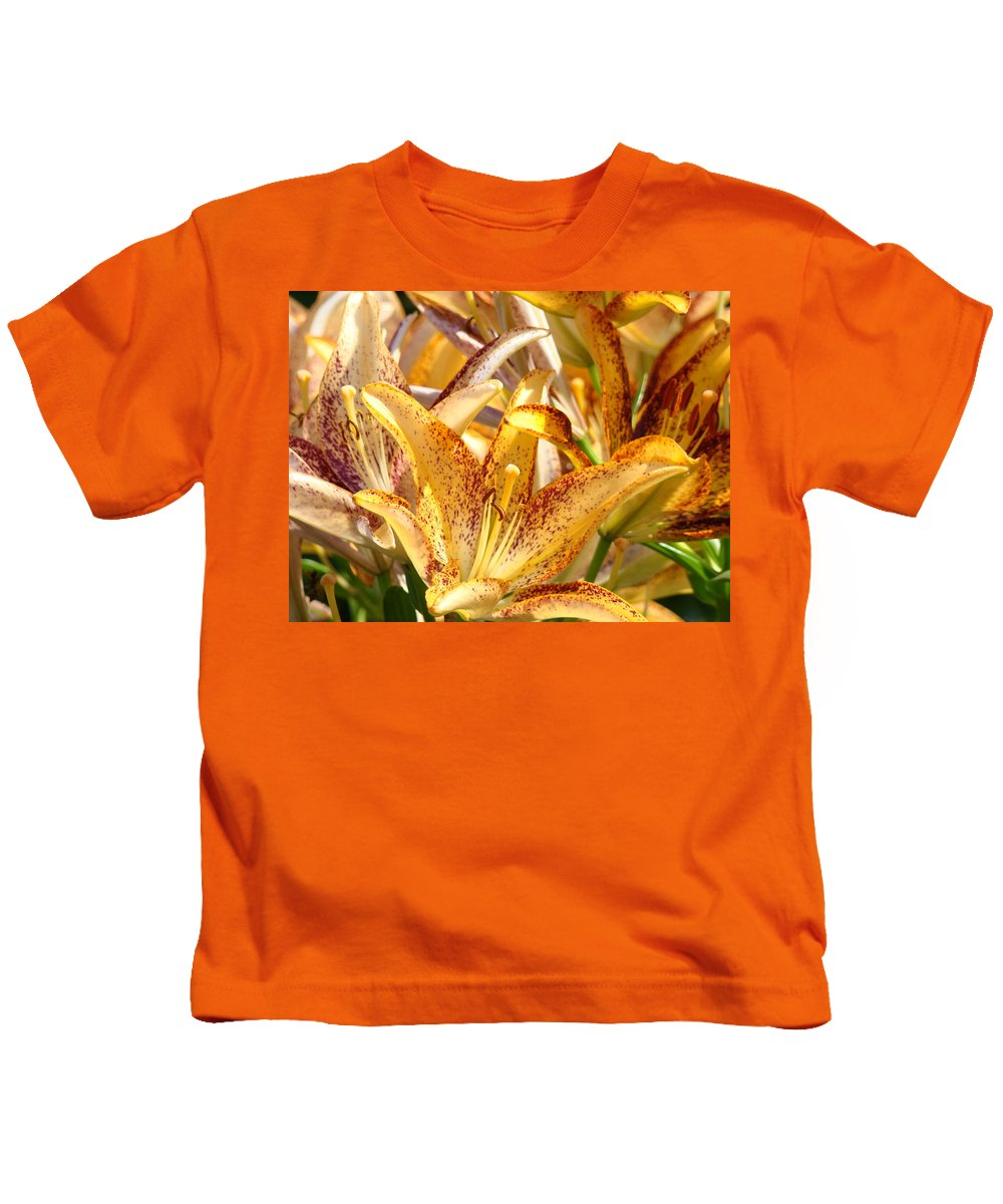 Lilies Kids T-Shirt featuring the photograph Lily Flower Garden Art Prints Canvas Floral Lilies Baslee Troutman by Baslee Troutman