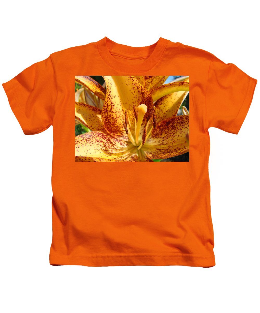 Lilies Kids T-Shirt featuring the photograph Lily Flower Macro Orange Lilies Floral Art Print Baslee Troutman by Baslee Troutman