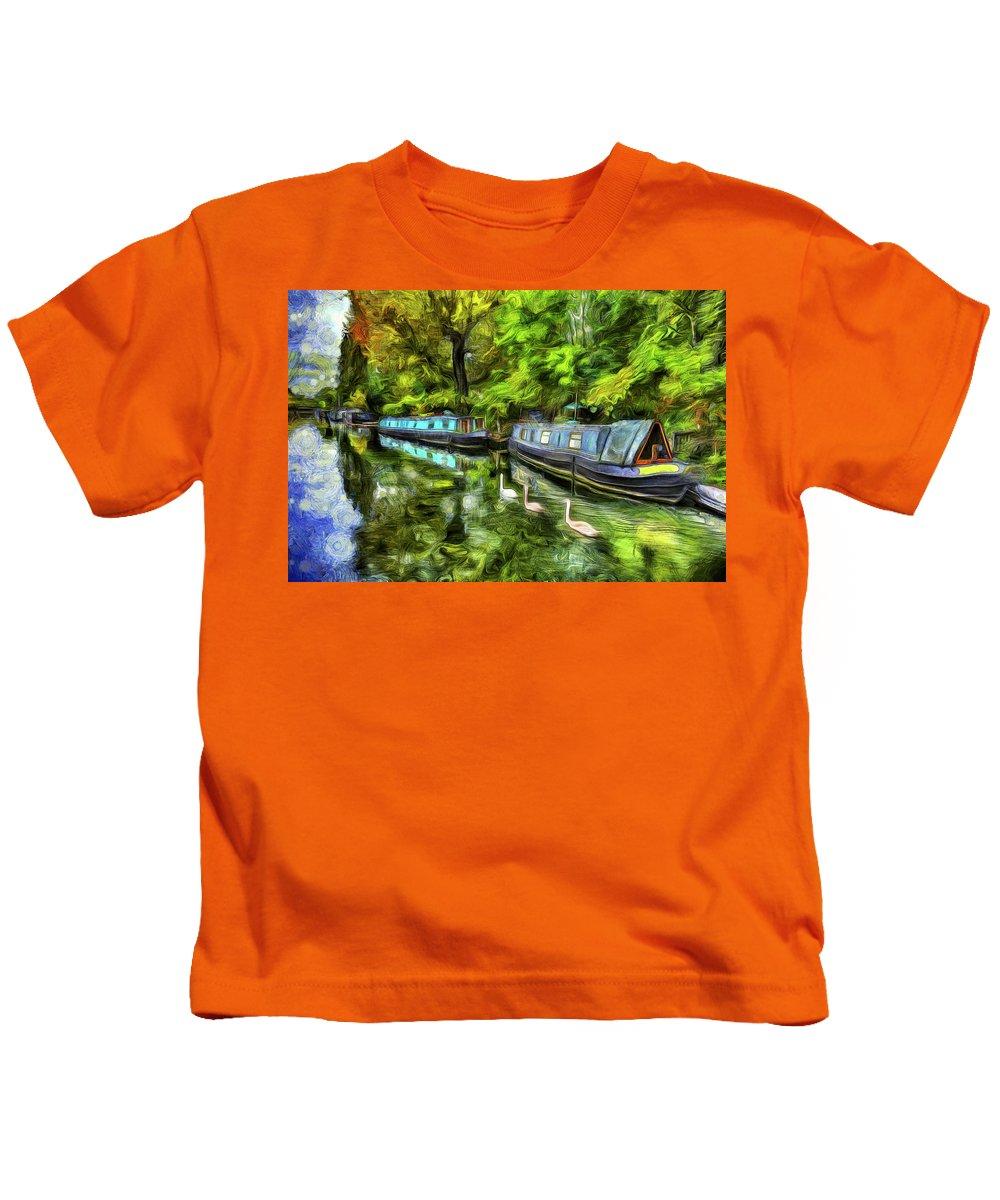 Swans Kids T-Shirt featuring the photograph Little Venice London Art by David Pyatt