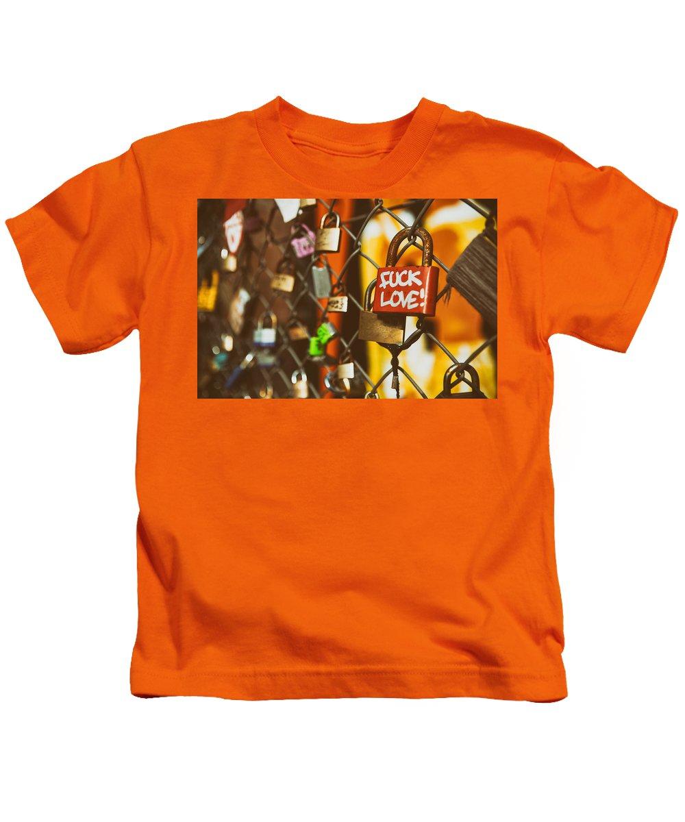 Lock Kids T-Shirt featuring the digital art Lock by Dorothy Binder