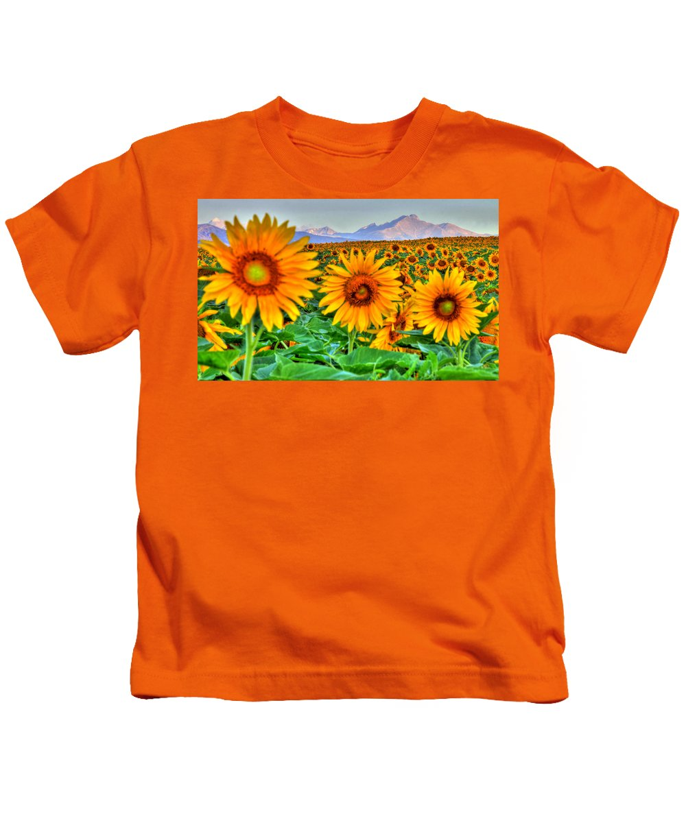 Mountains Kids T-Shirt featuring the photograph Longs Sunflowers by Scott Mahon