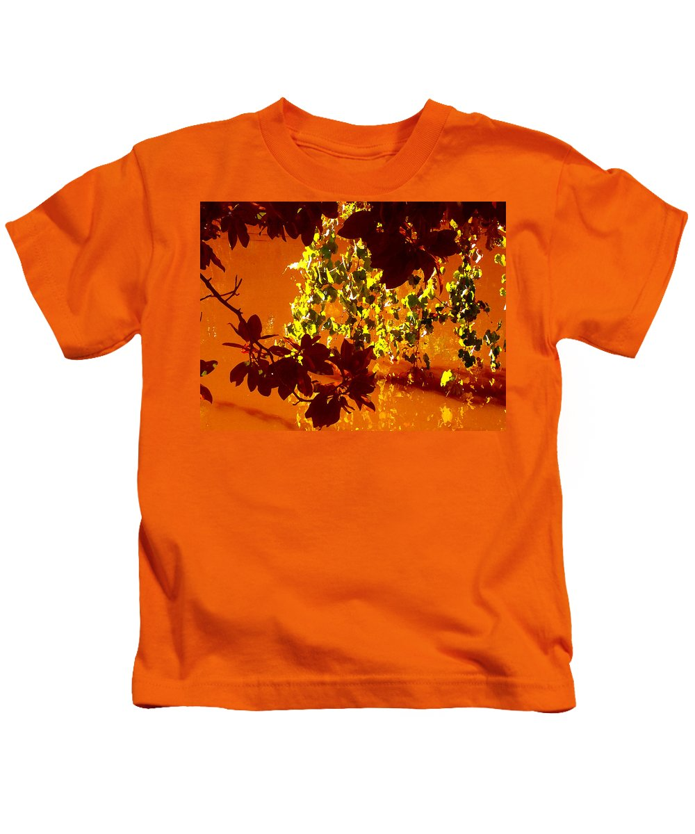 Landscapes Kids T-Shirt featuring the painting Looking Through Leaves Into Pond by Amy Vangsgard