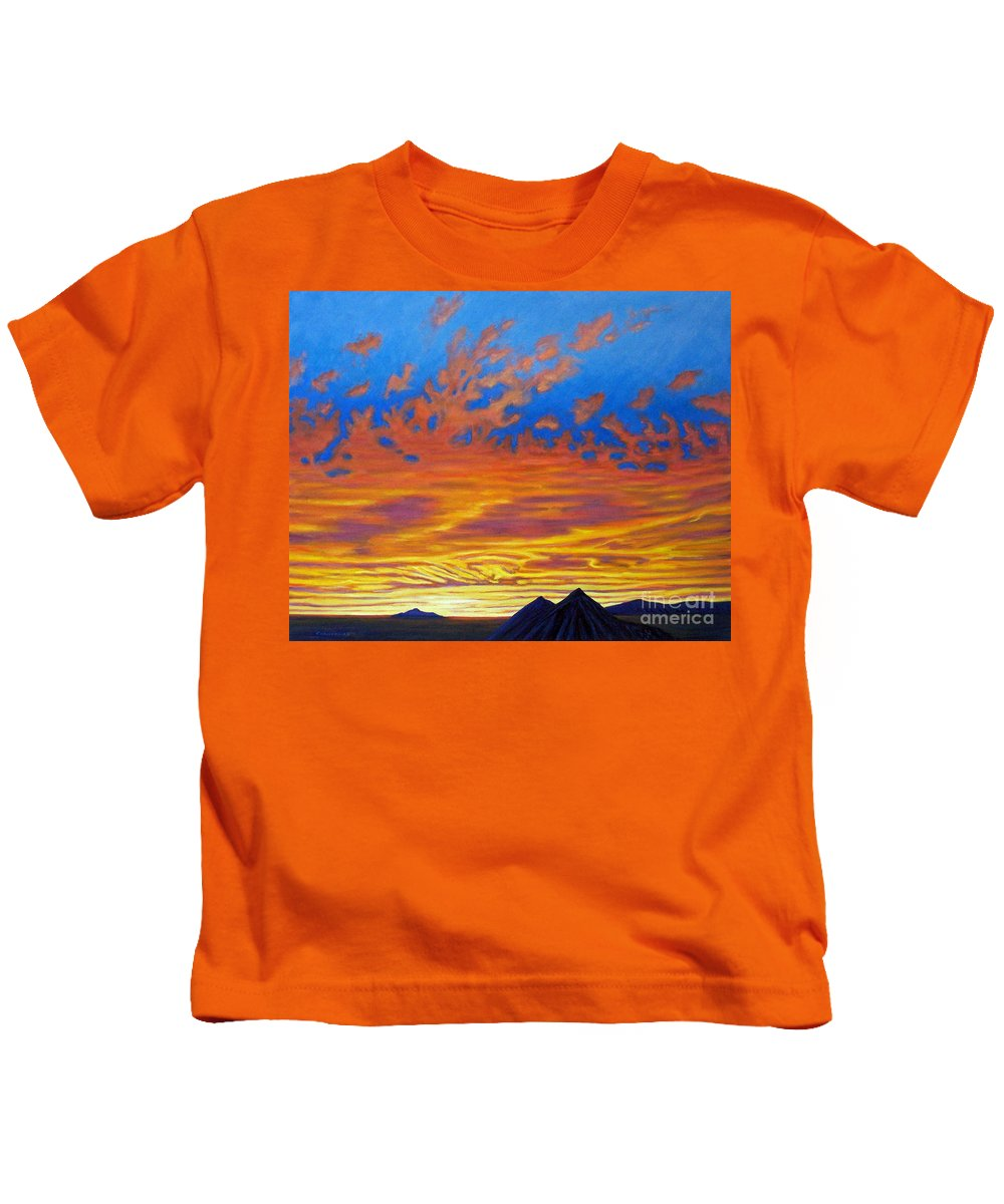 Landscape Kids T-Shirt featuring the painting Looking To The Southwest by Brian Commerford