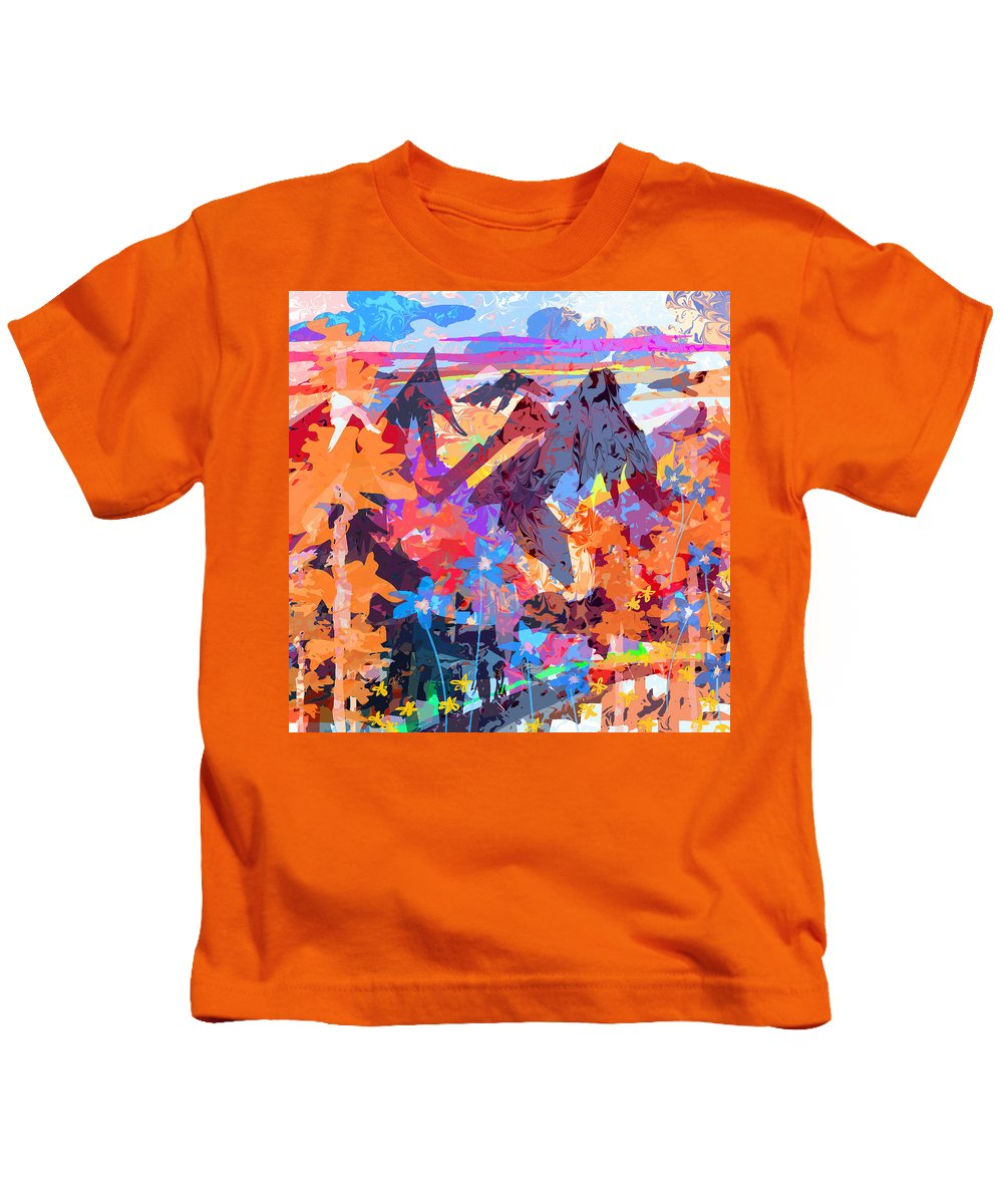Abstract Kids T-Shirt featuring the digital art Lost In Colorado by Rachel Christine Nowicki