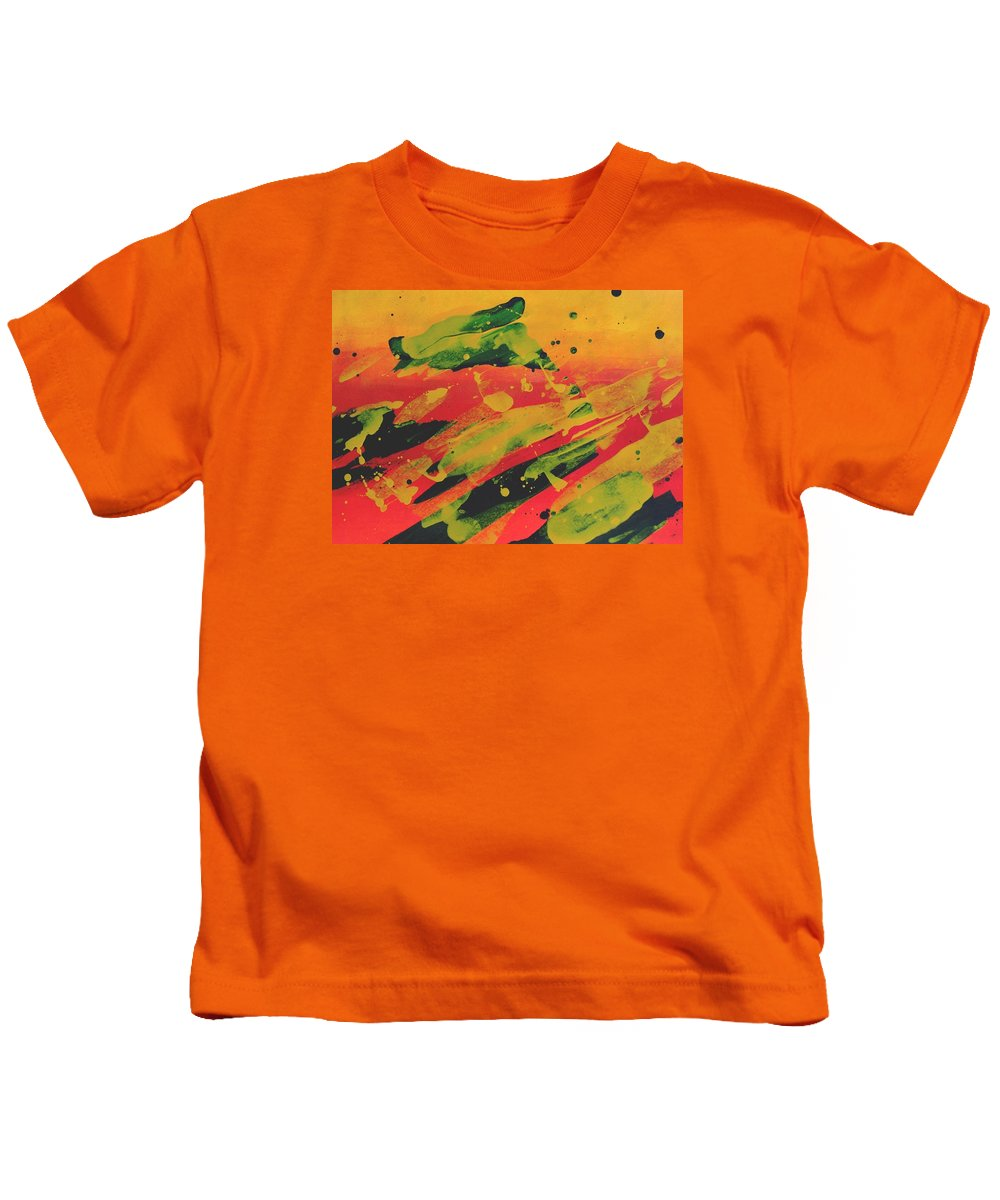 Abstract Kids T-Shirt featuring the painting Love Those Diagonals - Yellow 1 by Louise Adams