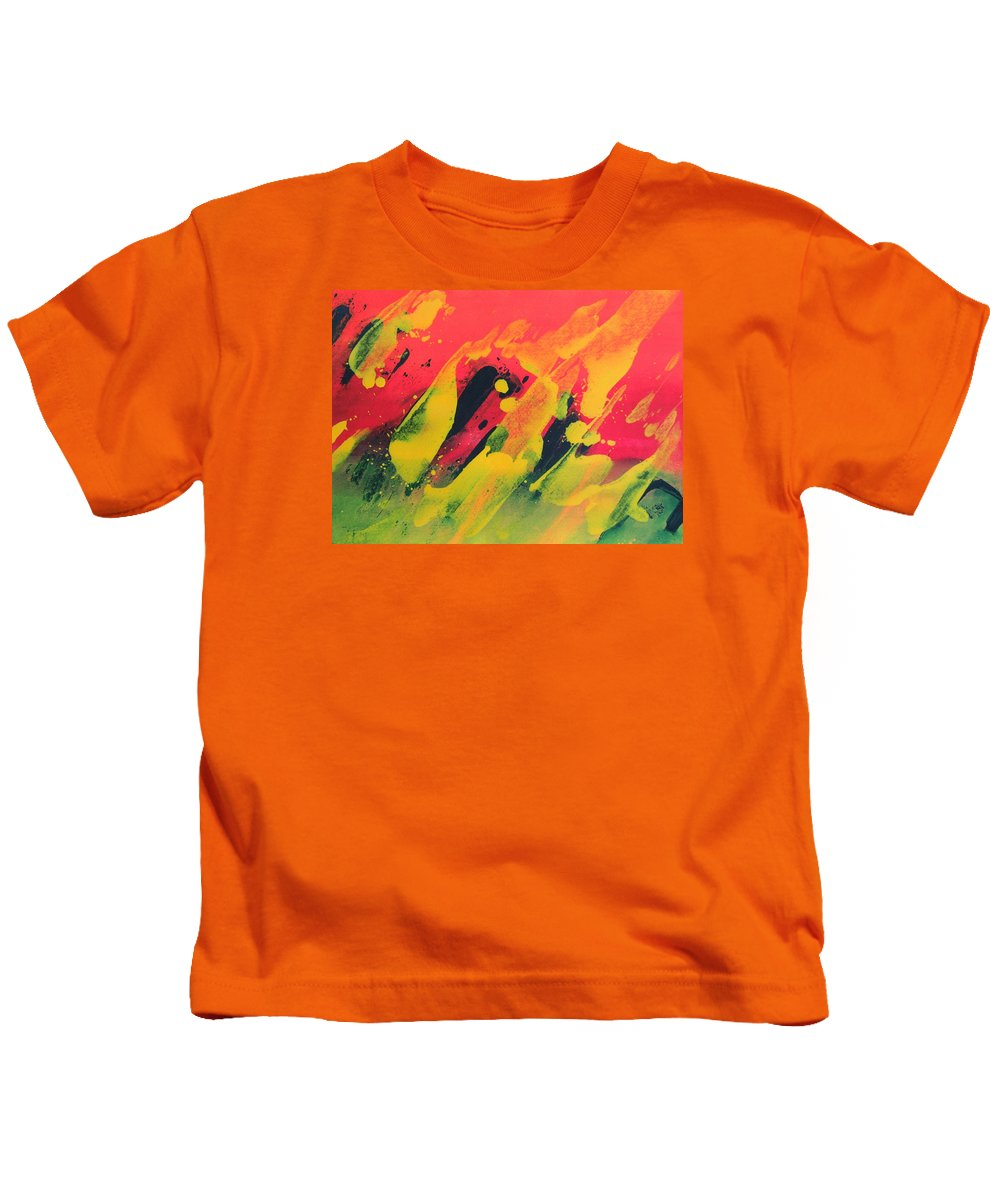 Abstract Kids T-Shirt featuring the painting Love Those Diagonals - Yellow 2 by Louise Adams