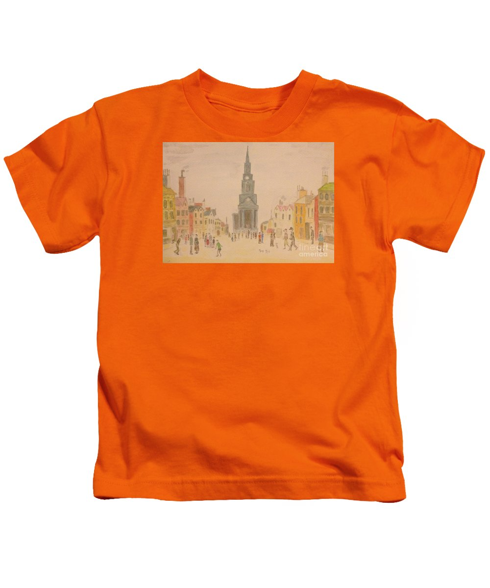 English Art Kids T-Shirt featuring the painting Lowry And Shadow Of Japan by Sawako Utsumi