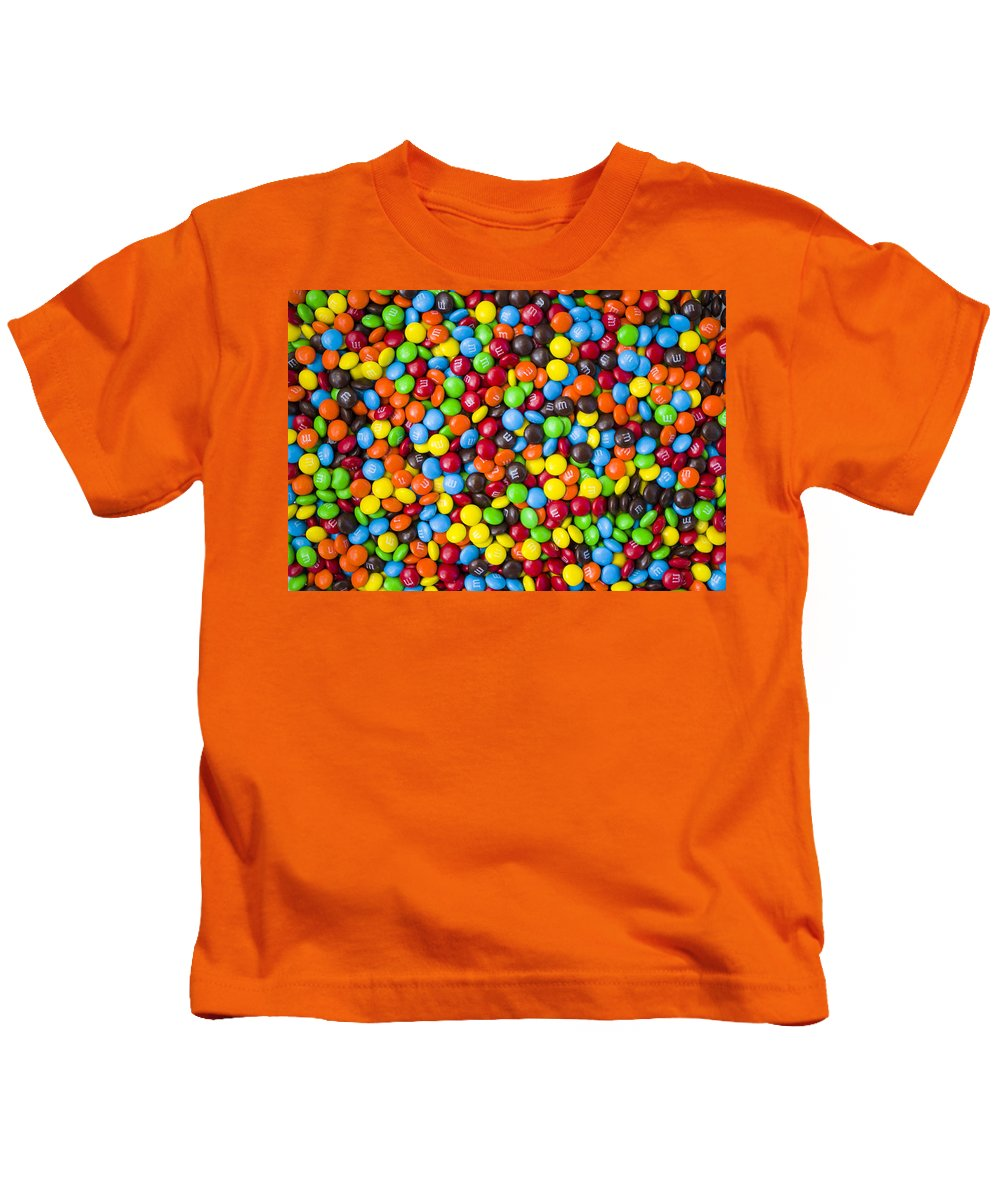 M&m's Kids T-Shirt featuring the photograph M And M Candy Real Chocolate Minis by Bruce Roker
