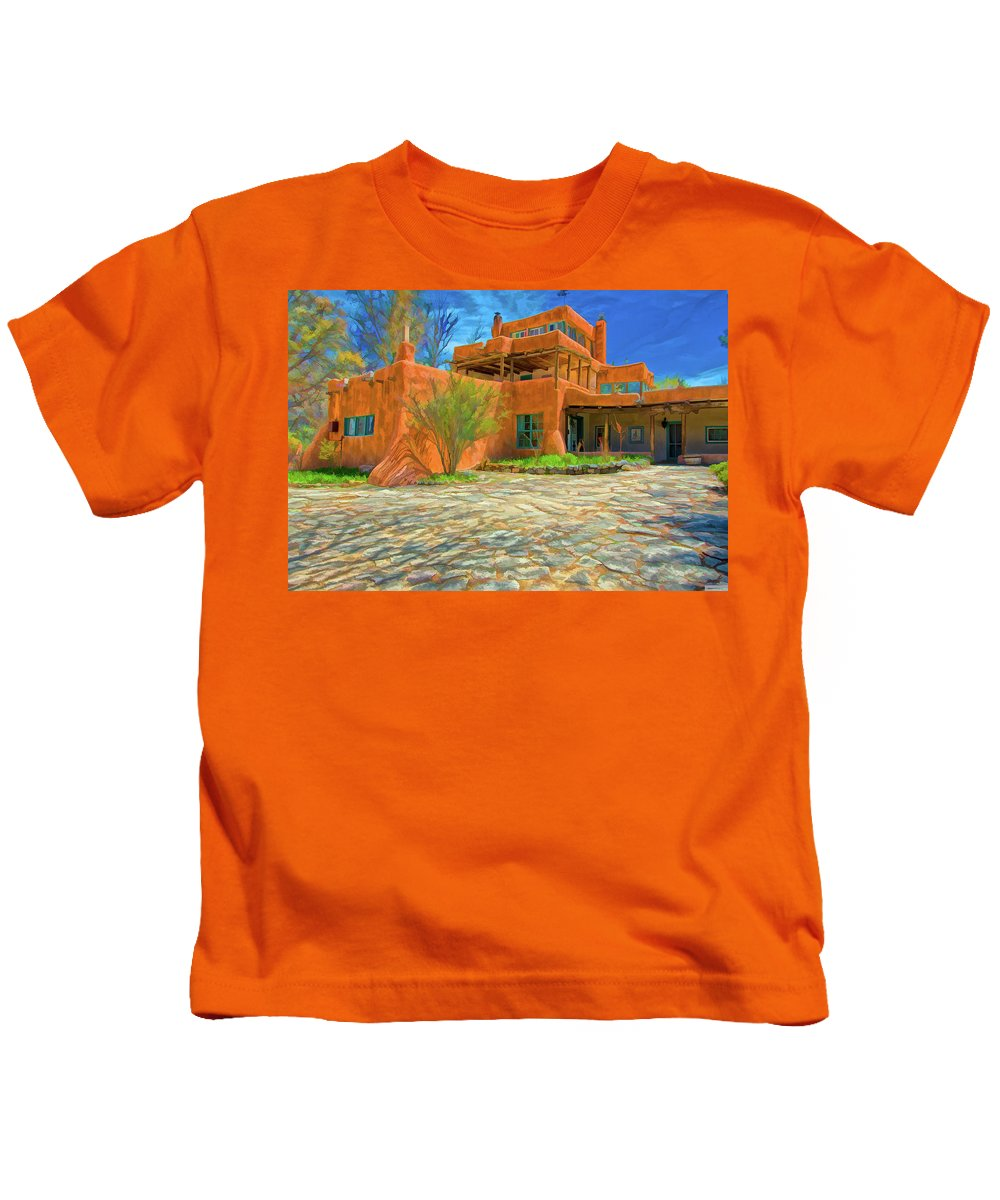 Mabel Dodge Sterne Kids T-Shirt featuring the digital art Mabel Dodge Luhan House As Oil by Charles Muhle