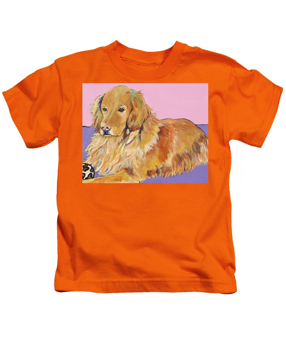 Golden Retriever Kids T-Shirt featuring the painting Maya by Pat Saunders-White