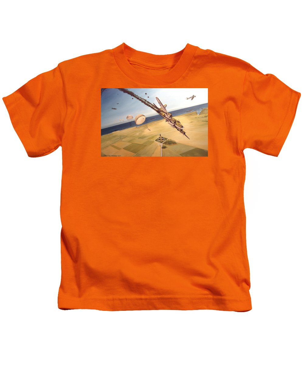 Aviation Kids T-Shirt featuring the painting Mehitabel by Marc Stewart