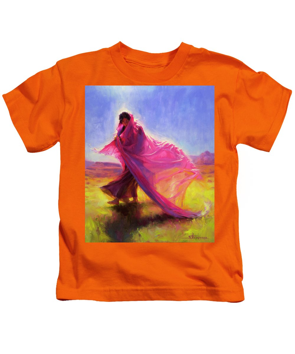 Southwest Kids T-Shirt featuring the painting Mesa Walk by Steve Henderson