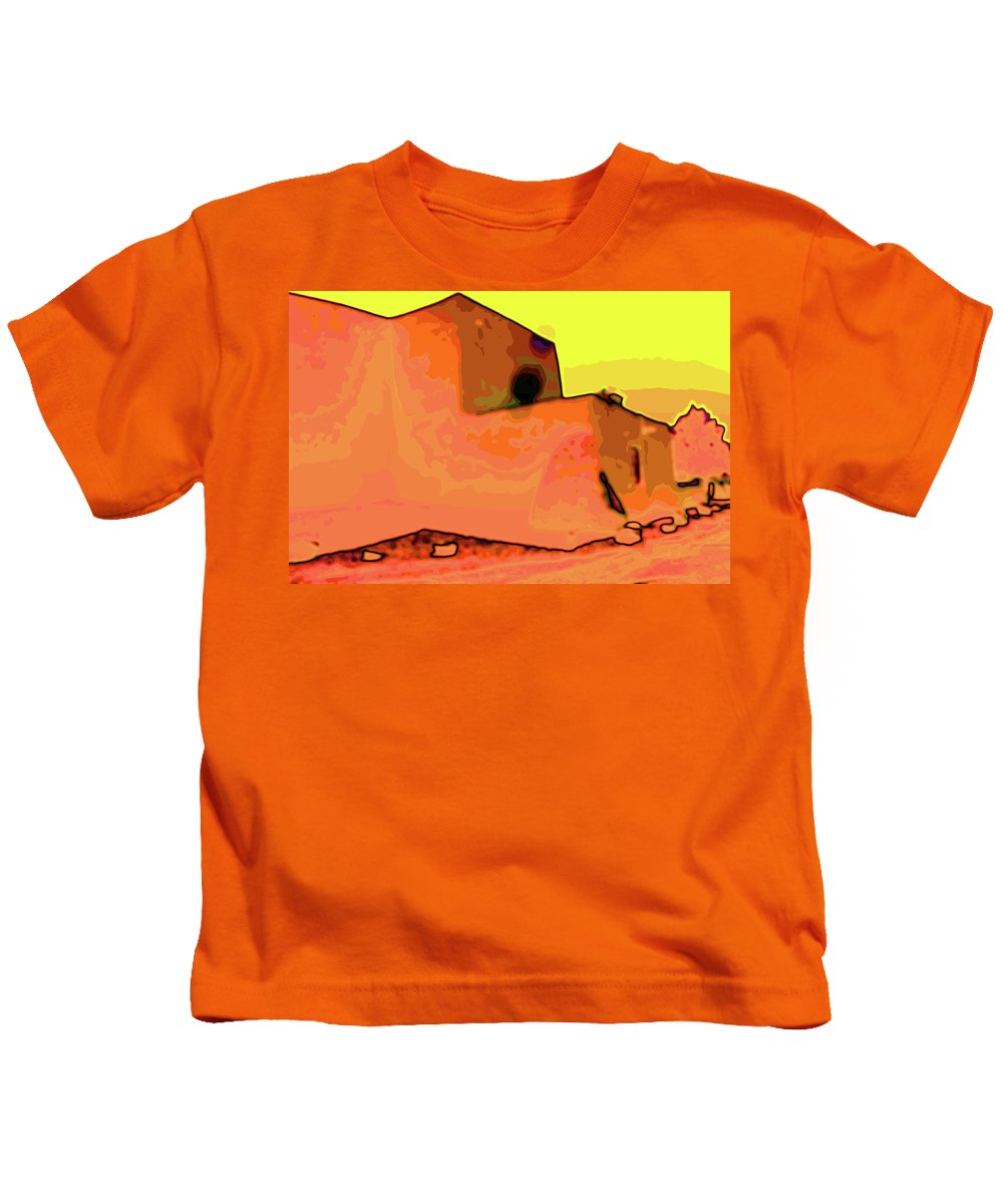 Ranchos Kids T-Shirt featuring the digital art Mission Church by Charles Muhle
