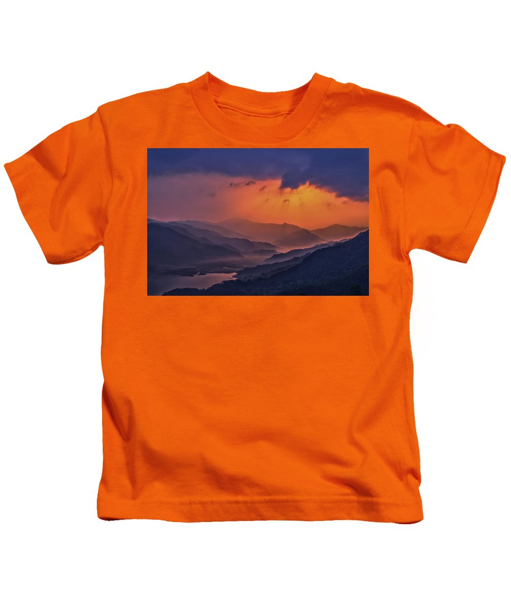 Blue Kids T-Shirt featuring the mixed media Misty Sunset by Yuka Ogava