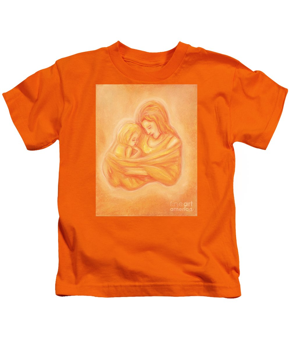 Mother Kids T-Shirt featuring the painting Mommy And Me by Cassandra Geernaert