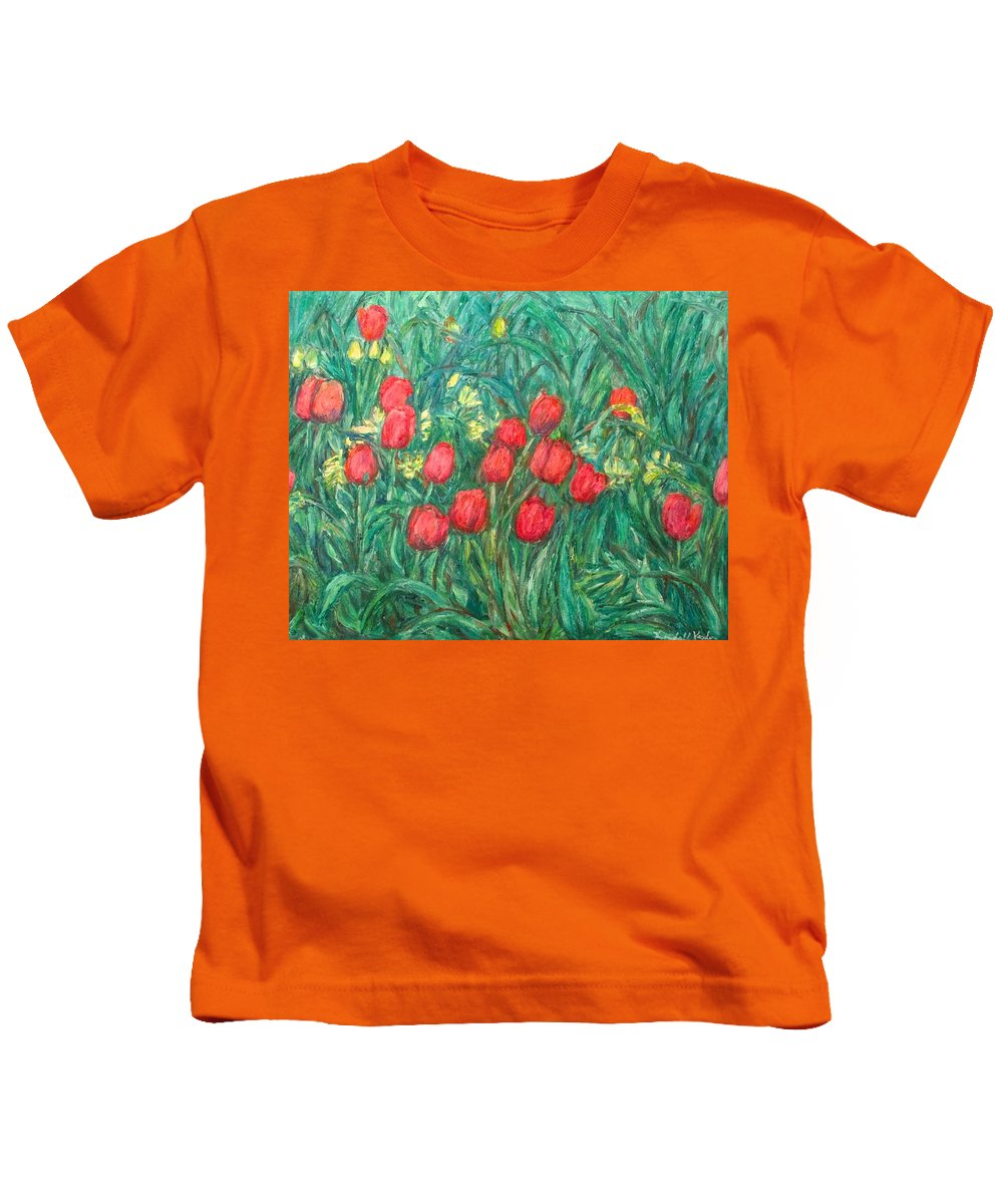 Kendall Kessler Kids T-Shirt featuring the painting Mostly Tulips by Kendall Kessler