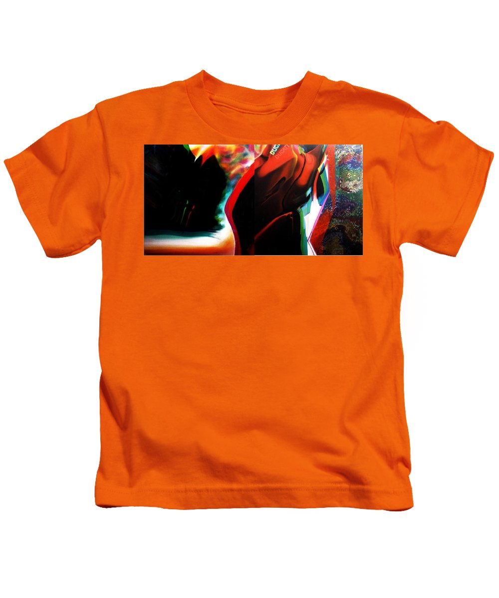 Red Kids T-Shirt featuring the painting Motostyle 9 Dipic by Albu Mihai