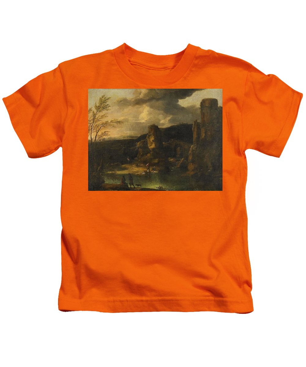 Crescenzio Onofrio Italy C. 1632-1698 1712 Kids T-Shirt featuring the painting Mountain Landscape With Figures By A Lake by MotionAge Designs