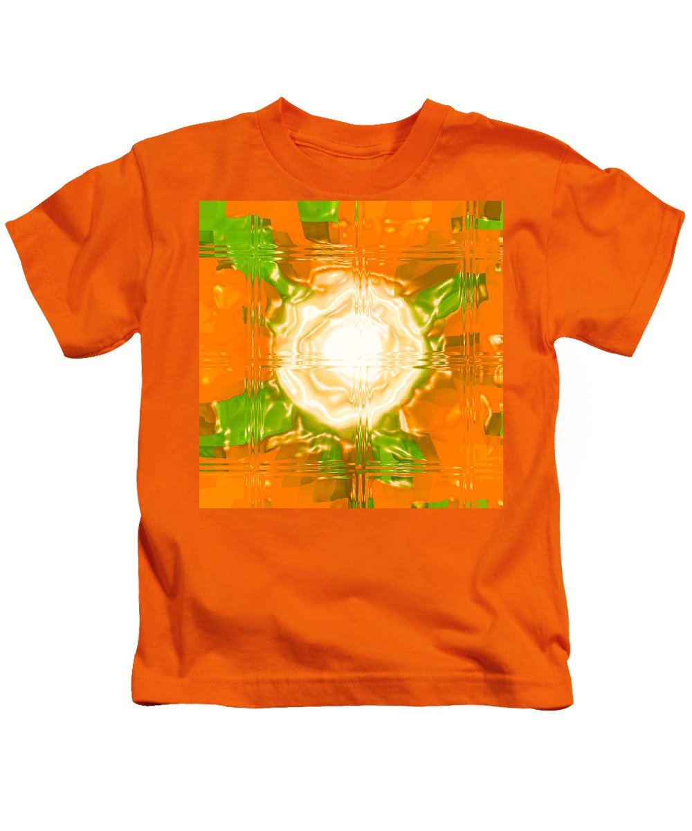 Moveonart! Digital Gallery Kids T-Shirt featuring the digital art Moveonart Joy With Light In Orange by Jacob Kanduch