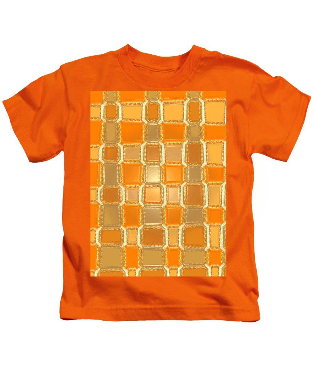 Moveonart! Digital Gallery Kids T-Shirt featuring the digital art Moveonart Orange Bricks by Jacob Kanduch