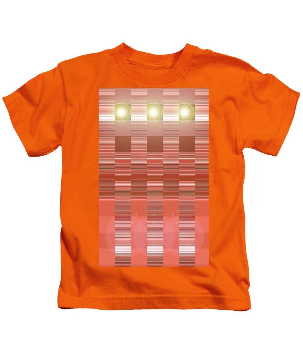 Moveonart! Digital Gallery Kids T-Shirt featuring the digital art Moveonart Orange Program Seven by Jacob Kanduch