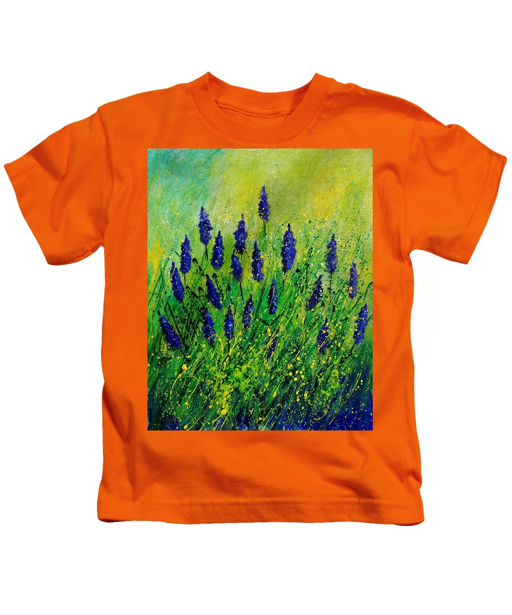 Flowers Kids T-Shirt featuring the painting Muscaris 4590 by Pol Ledent