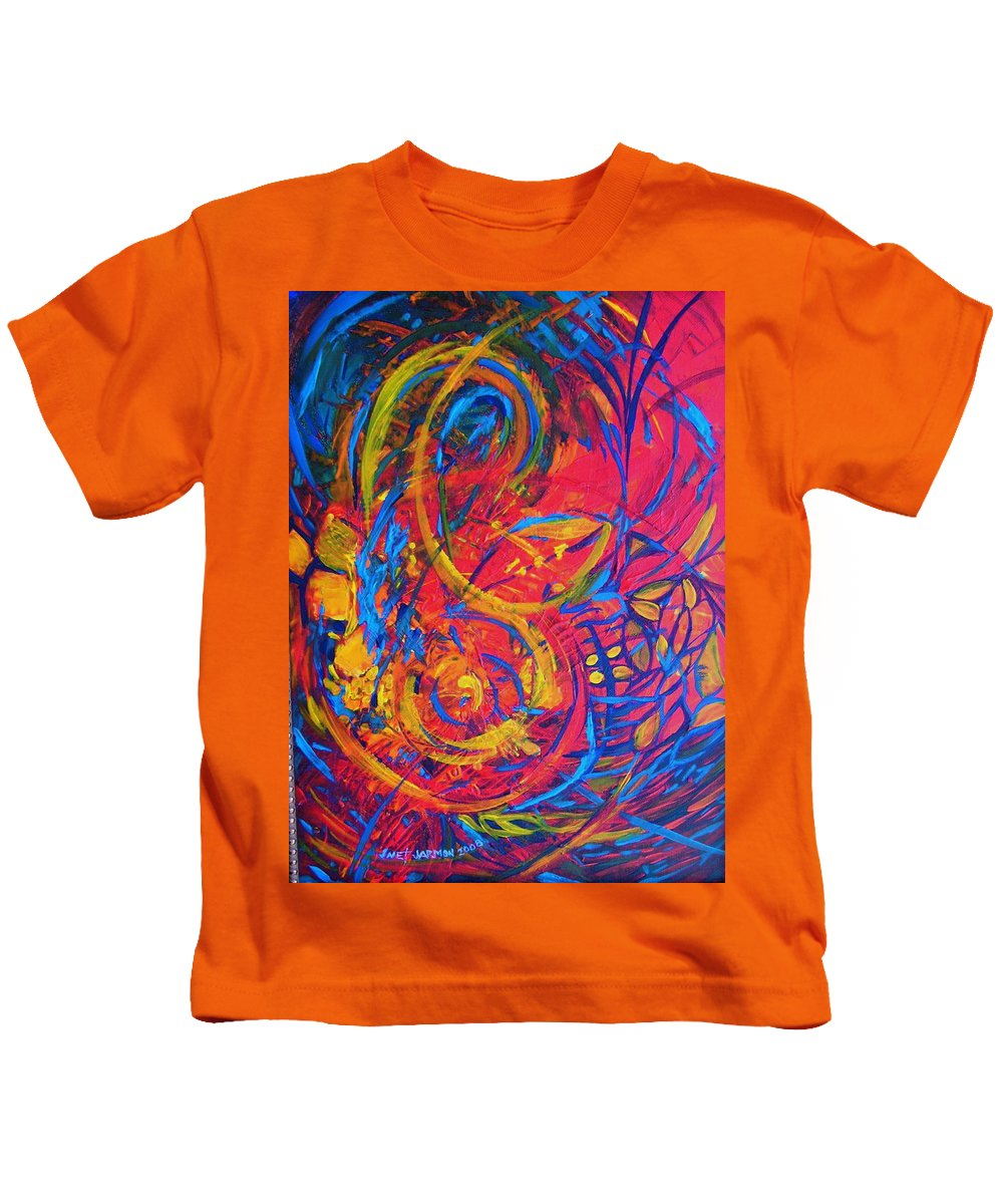 Abstract Kids T-Shirt featuring the painting Music by Jeanette Jarmon