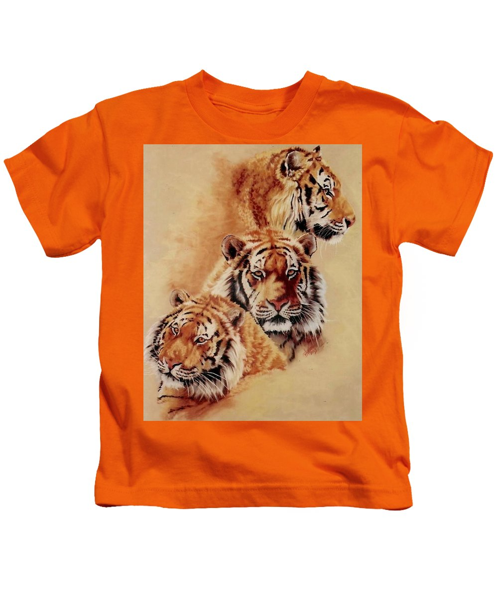 Tiger Kids T-Shirt featuring the pastel Nanook by Barbara Keith