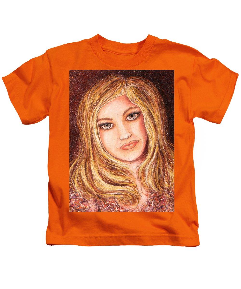 Self Portrait Kids T-Shirt featuring the painting Natalie Self Portrait by Natalie Holland