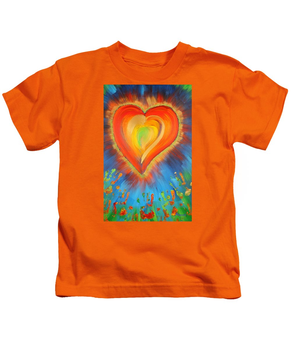 Heart Kids T-Shirt featuring the painting New Heart by Gary Rowell