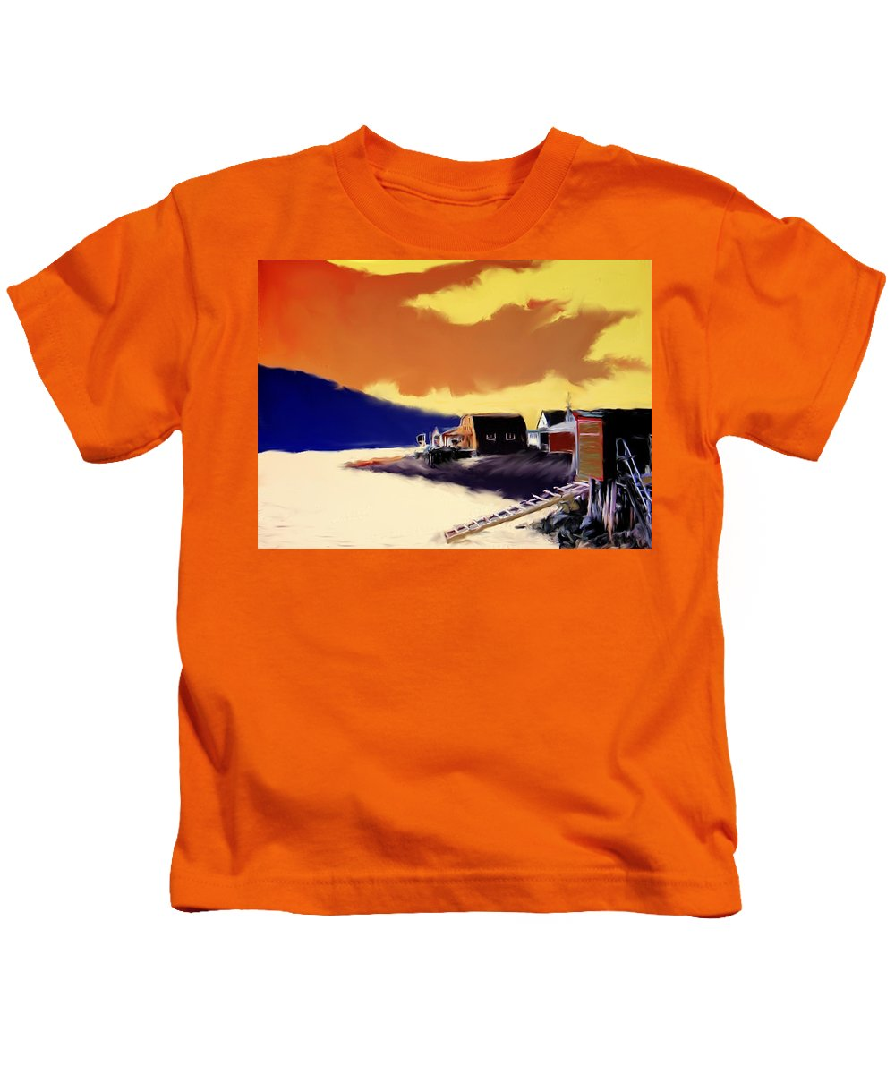 Newfoundland Kids T-Shirt featuring the photograph Newfoundland Fishing Shacks by Ian MacDonald