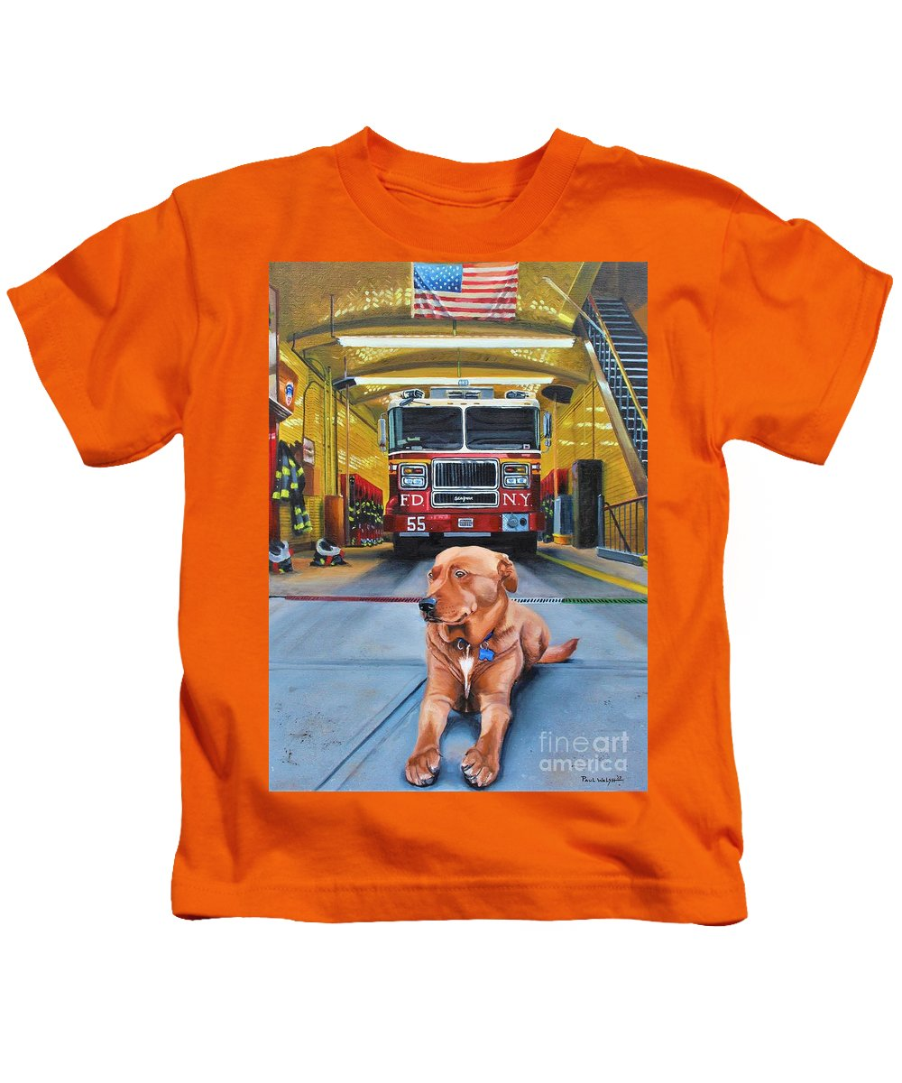 Fdny Kids T-Shirt featuring the painting Nickels by Paul Walsh