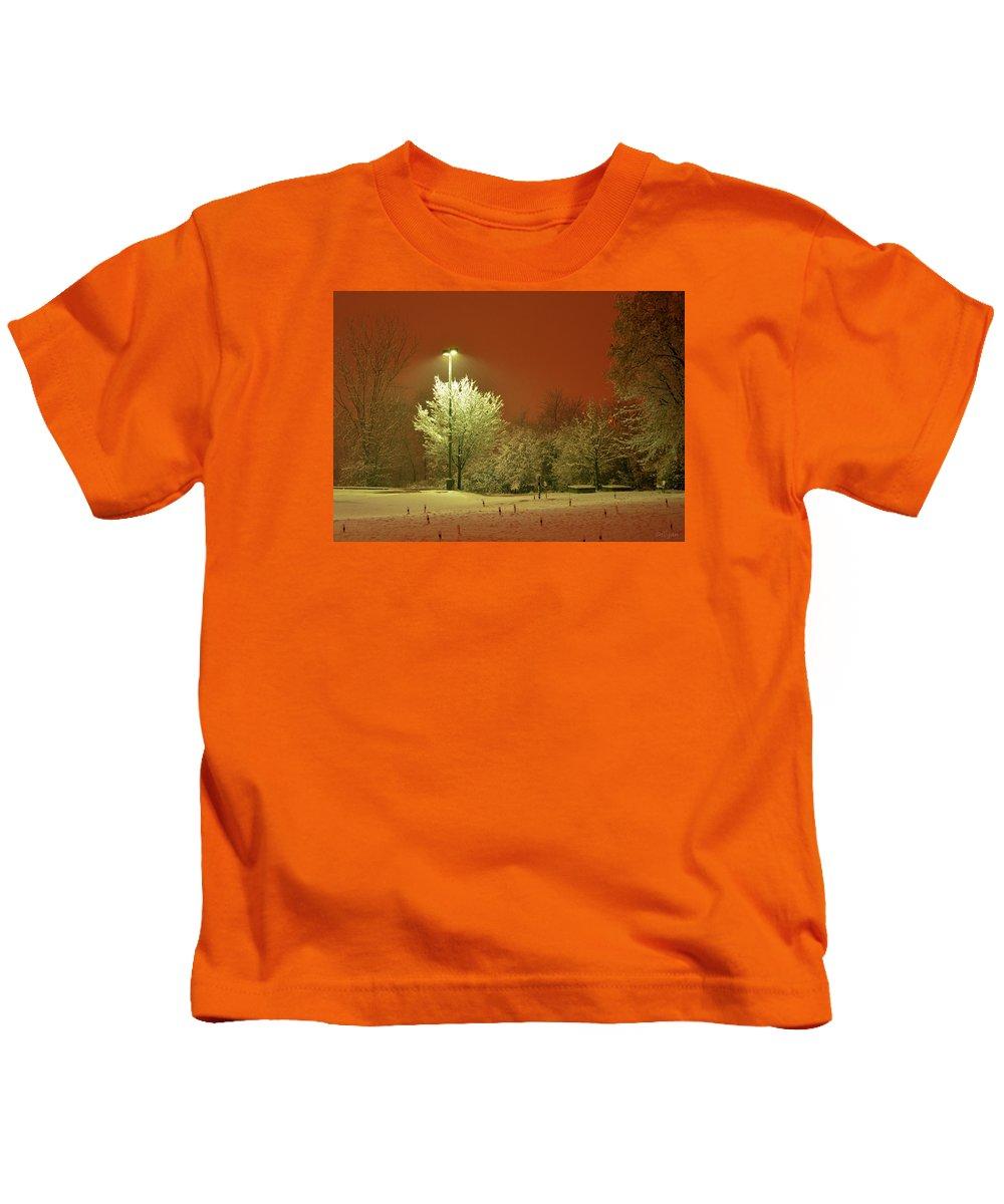 Winter Kids T-Shirt featuring the photograph Night Blizzard 2 by Iliyan Bozhanov