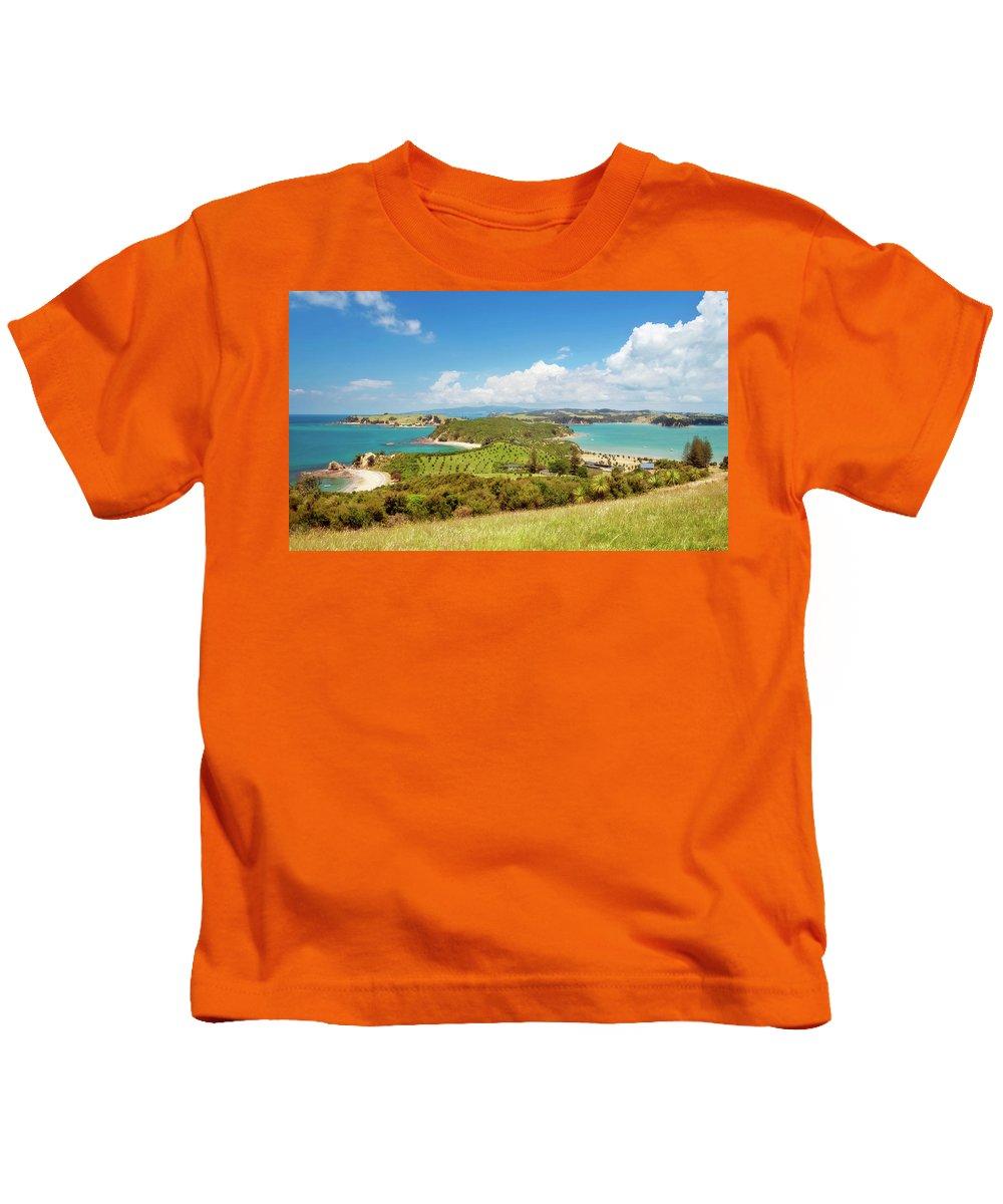 Joan Carroll Kids T-Shirt featuring the photograph North Tower Viewpoint Rotoroa New Zealand by Joan Carroll
