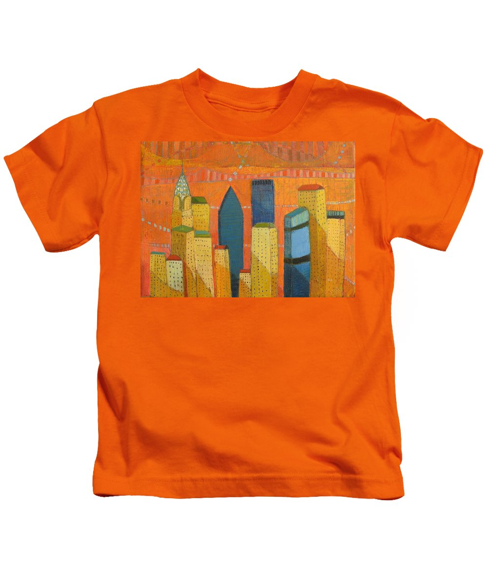 Abstract Cityscape Kids T-Shirt featuring the painting Nyc With Chrysler by Habib Ayat
