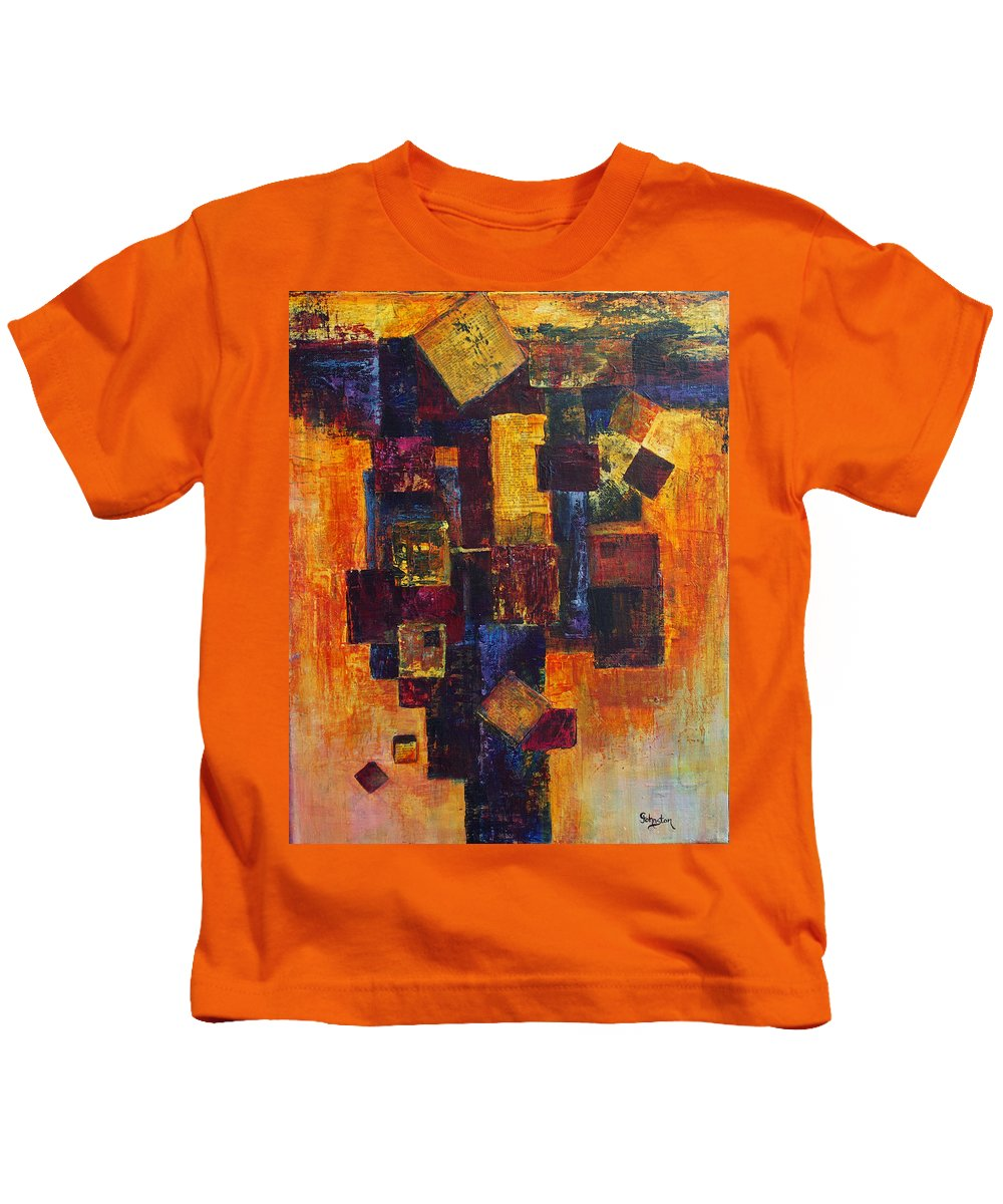Grid Kids T-Shirt featuring the painting Old News by Cindy Johnston