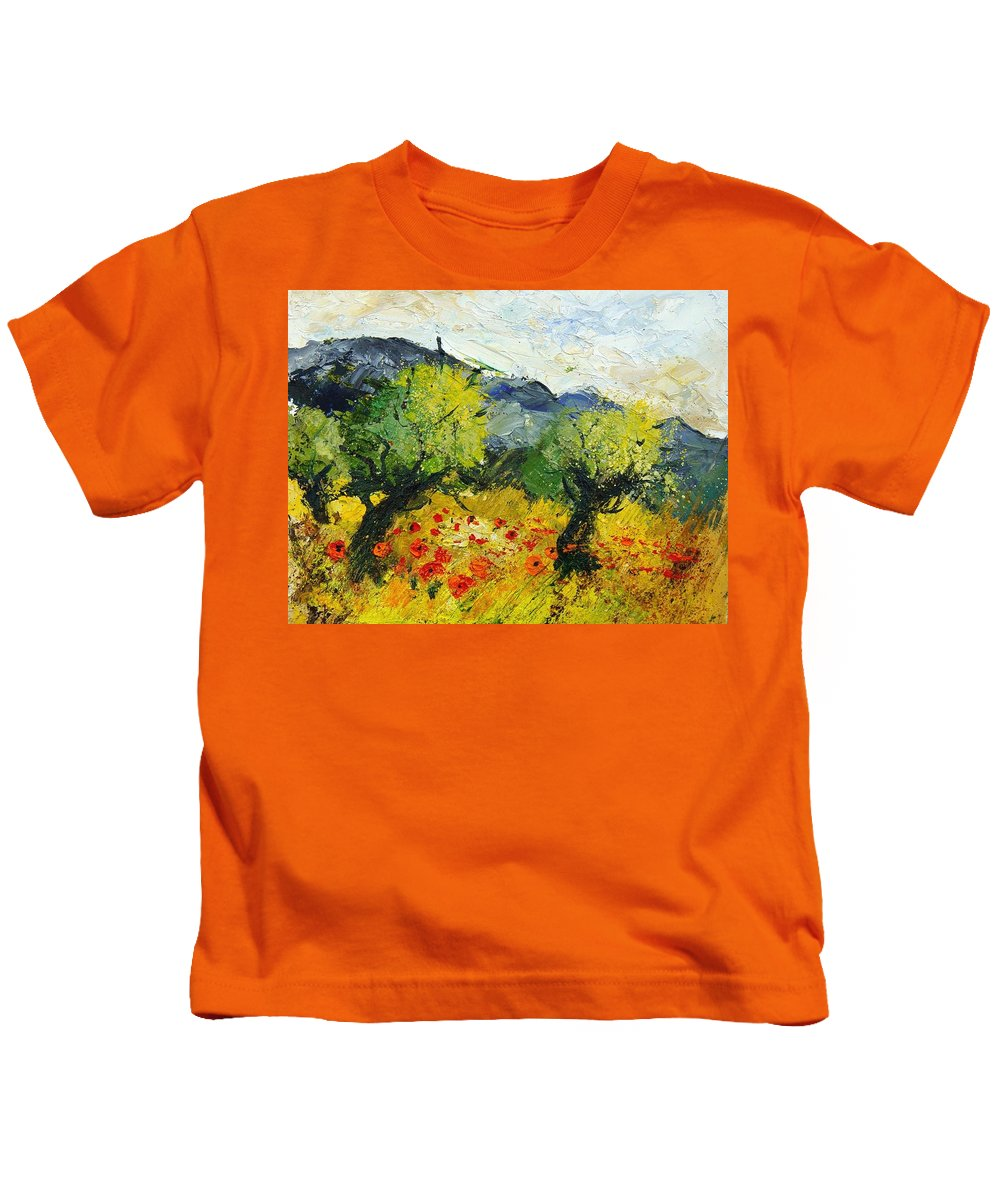 Flowers Kids T-Shirt featuring the painting Olive Trees And Poppies by Pol Ledent