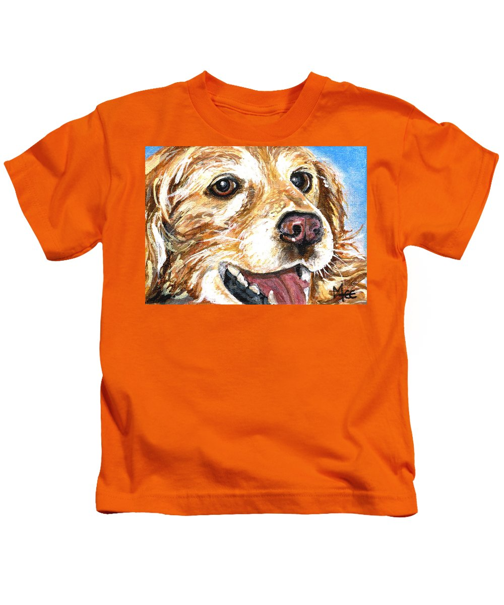 Charity Kids T-Shirt featuring the painting Oliver From Muttville by Mary-Lee Sanders